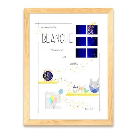 Mademoiselle illumine nos nuits - Illustre Albert - Cadeau naissance - Affiche personnalisée