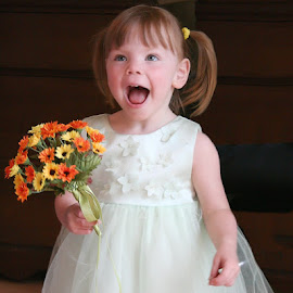 I'm So Excited!!  by Lena Arkell - Babies & Children Child Portraits ( dress, flowers, flower girl, girl, child, smile,  )