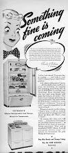 Photo: 1943 Gibson refrigerator ad. In the 40's manufacturer's were  mostly reminding people of the wonderful new things that would be available after the war.