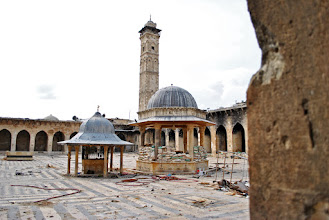 Photo: A look at the famous minaret of the Umayyad mosque located in the al-Jalloum district of the Old City of Aleppo, Syria. The 11th century minaret, one of the world's oldest, was totally destroyed by government shelling during a battle with Syrian rebel fighters on April 24, 2013. Aleppo, SYRIA - 11/4/2013. Credit: Ali Mustafa/SIPA Press