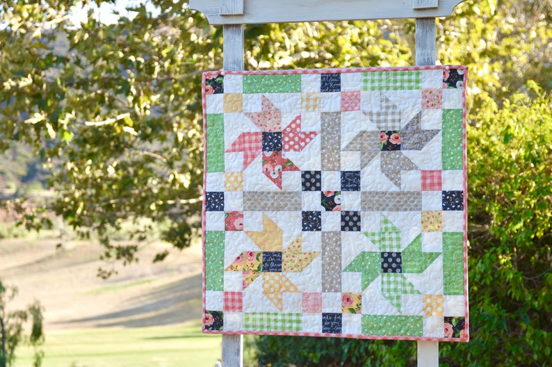 country flowers wall quilt pattern