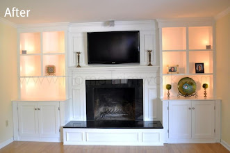 Photo: (After) Francisco's Fireplace Mantle and bookcases. Black Granite surround Southampton, NJ