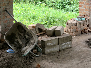 Photo: Bricks made by the building students.