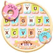 Unduh Tema Keyboard Colorful Donuts Button Gratis