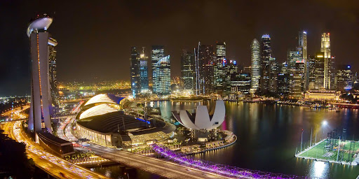 Singapore-night.jpg - A nighttime view of the Singapore skyline.