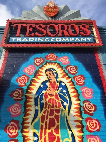 Our Lady of Guadalupe on the outside of Tesoros.