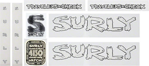 Surly Travelers Check decal Set  White w/Black