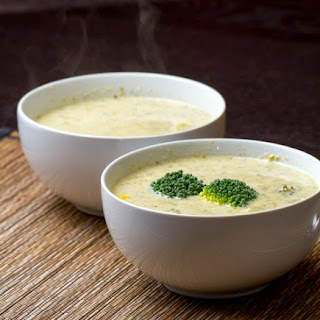 Cheesy Broccoli Soup with Roasted Corn