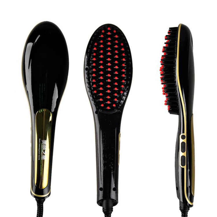 Beautiful Star Electronic keratin shine 3 in 1 Straightening + shine + volume hair brush iron (Black by Supermodels Secrets