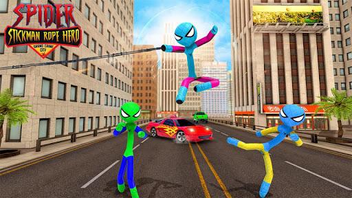 Flying Stickman Rope Hero Grand City Crime apkpoly screenshots 5