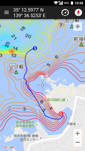 釣りナビくん 詳細海底地図にポイント登録 GPSでボートナビ
