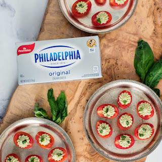 Pesto Cream Cheese Stuffed Cherry Tomatoes.