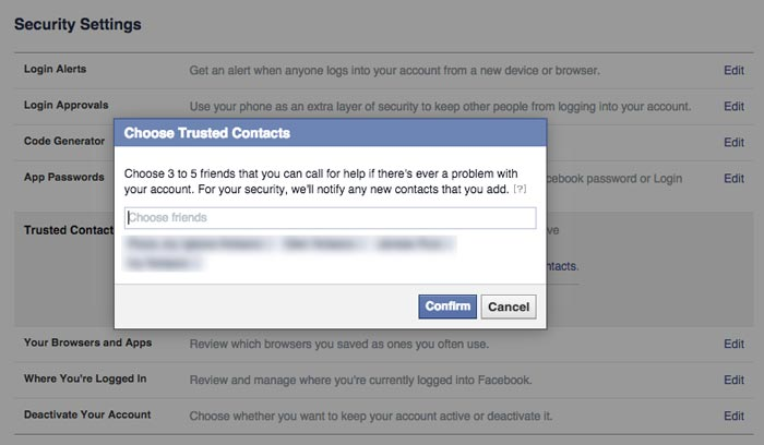 how to add trusted contacts on Facebook step 3