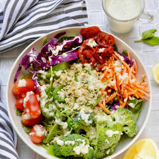 Creamy Probiotic Cashew Dressing with Lemon, Mint and Basil.