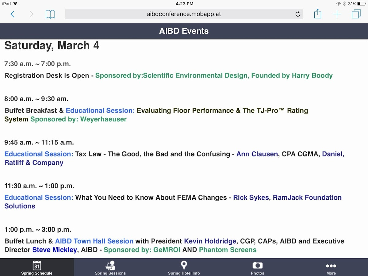 AIBD Events- screenshot