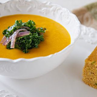 Coconut Butternut Squash Soup with a Garnish of Greens