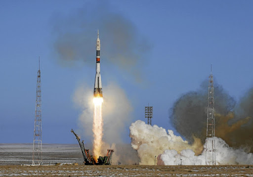 The Soyuz MS-07 spacecraft blasts off to the International Space Station from Kazakhstan on December 17, 2017. Picture: REUTERS