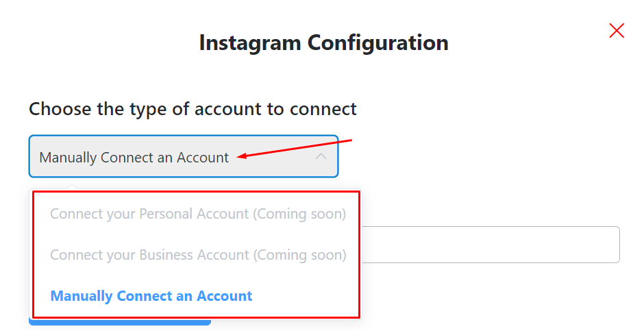Instagram configuration manually connect