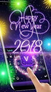 Animated New Year Fireworks Theme&Emoji Keyboard - náhled