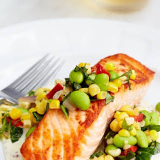 Pan-Roasted Salmon with Summer Succotash.