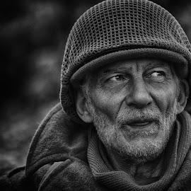 by Marco Bertamé - Black & White Portraits & People ( ww2, beard, soldier, headshot, helmet, american, military, portrait, eyes, us )