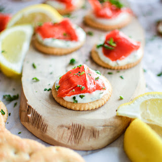 Smoked Salmon Bites with Mustard Creme Fraiche