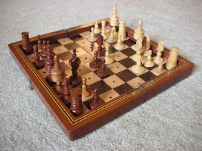 Photo: CH318 German wooden 'Nuremburg Barleycorn' set of fruitwood  (set on an English Railway board that did not come with it).