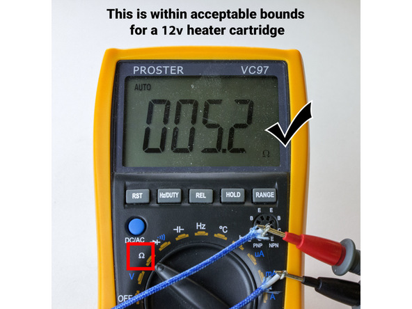 Figure 14:  Testing of the Heater Cartridge with a Multimeter