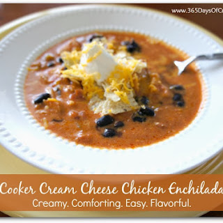 Recipe for Slow Cooker Cream Cheese Chicken Enchilada Soup.