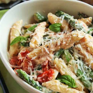 Three-Cheese Ziti with Ricotta, Asparagus and Cherry Tomatoes