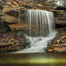 FLOWING IN FALL COLORS by Dana Johnson - Landscapes Waterscapes ( waterfalls, falls, waterscape, cascade, autumn, landscape )