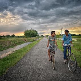 by Pranab Sarkar - People Street & Candids ( cycle, joy, street, children, happiness, india )