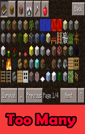 Too Many Items Mods mcpe+