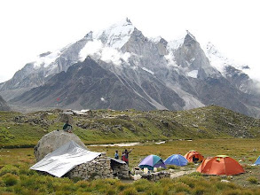 Photo: 'Tapoban', (our base-camp, 14500 ft). Bhagirathi group of peaks in backgroud
