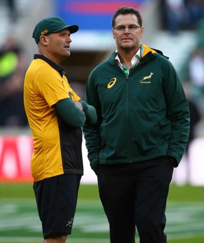 Jacques Nienaber (Defence Coach) of South Africa with Rassie Erasmus (Head Coach) of South Africa during the Castle Lager Outgoing Tour match between England and South Africa at Twickenham Stadium on November 03, 2018 in London, England.