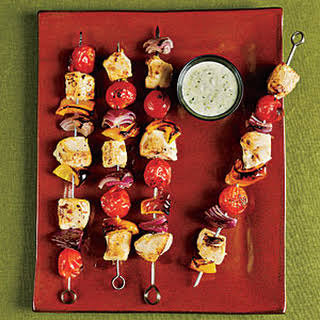 Chicken Kebabs with Creamy Pesto.