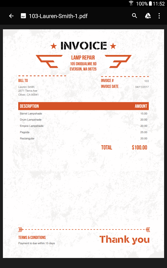 100 Free Invoice PDF Templates- screenshot