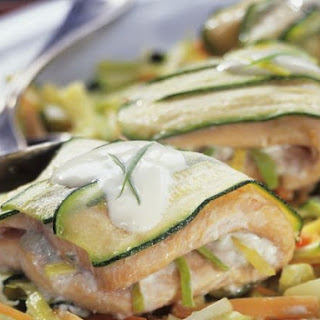 Courgette and Salmon Parcels.