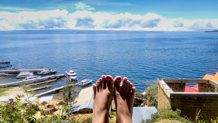 watching the highest navigable lake titicaca from a hotel on isla del sol near copacabana in Bolivia