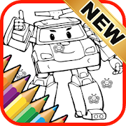 Printable Coloring Pages Robocar Police by Fans icon
