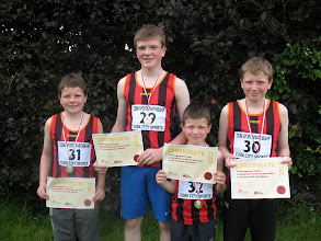 Photo: Ryan Brothers, Jack, Daniel, Dillon & David who all took part in the Cork City Sports Juvenile 300m Gala 2012
