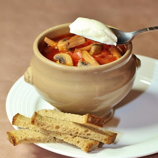 Diet Vegetables Soupe With Mushrooms