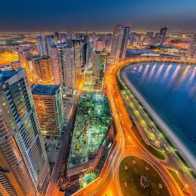 Sharjah Vertorama by Ashraf Jandali - City,  Street & Park  Skylines ( digital blending, vertorama, sunset, uae, buildings, lake, rooftop, cityscape, sharjah, city, pwcskylines, night )