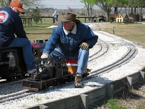 Photo: Doug Blodgett with his 4.75 inch gauge Shay and Rick Pike on his 2-8-2.  Doug is building a 2-8-2.  HALS 2009-0228