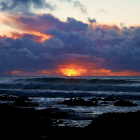 stormy sunset off Pacific Grove Jan. 2010. by John Canning - Landscapes Weather