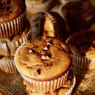 Gluten-Free Peanut Butter Banana Muffins with Chocolate Chips.