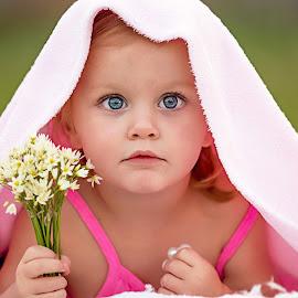 Pink Princess by Jeannie Meyer - Babies & Children Child Portraits ( child, little girl, child portrait, blue eyes, pink, flowers, , best female portraiture )