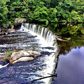 Pretty place by Richard Moyen - Instagram & Mobile Android ( water, blue, falls, trees, stone )