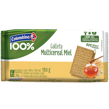 GALLETAS CRAKENAS 100%   MULTICEREAL FIBRA MIEL X 6 PAQ X 180 GR