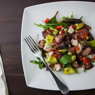 Warm Bacon and Shallot Spinach Salad with Avocado.